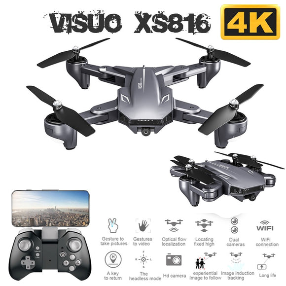 Visuo XS816 Foldable Drone with Dual Camera 4K WiFi FPV Selfie Wide Angle Optical Flow Positioning RC Quadcopter Helicopter Toys
