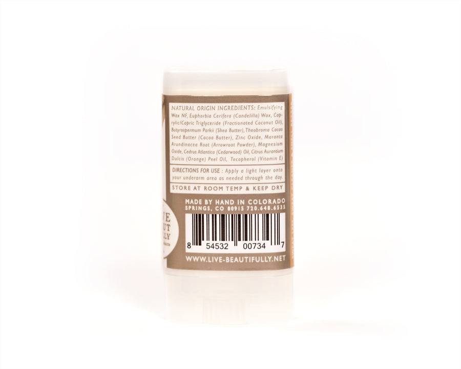Cedarwood And Orange Travel Size Deodorant Vegan Aluminum Free Sensitive Skin Ingredients