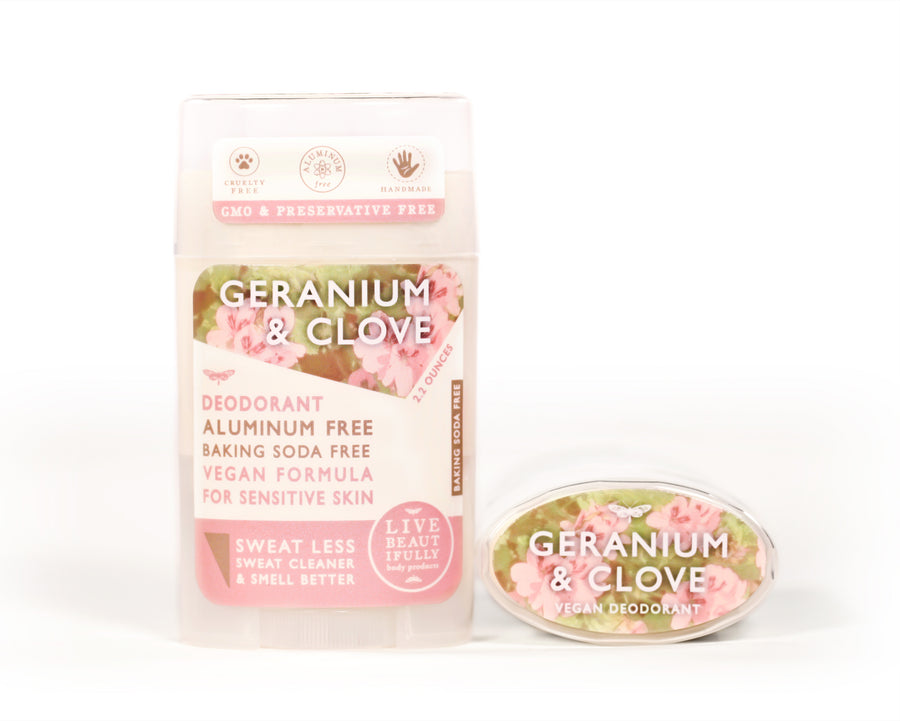 Geranium And Clove Natural Origin Deodorant Vegan Aluminum Free Sensitive Skin