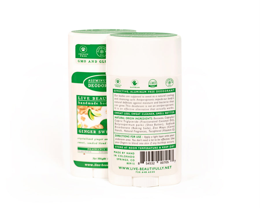 Ginger Sweet Lime Full Size Deodorant Aluminum Free Ingredients