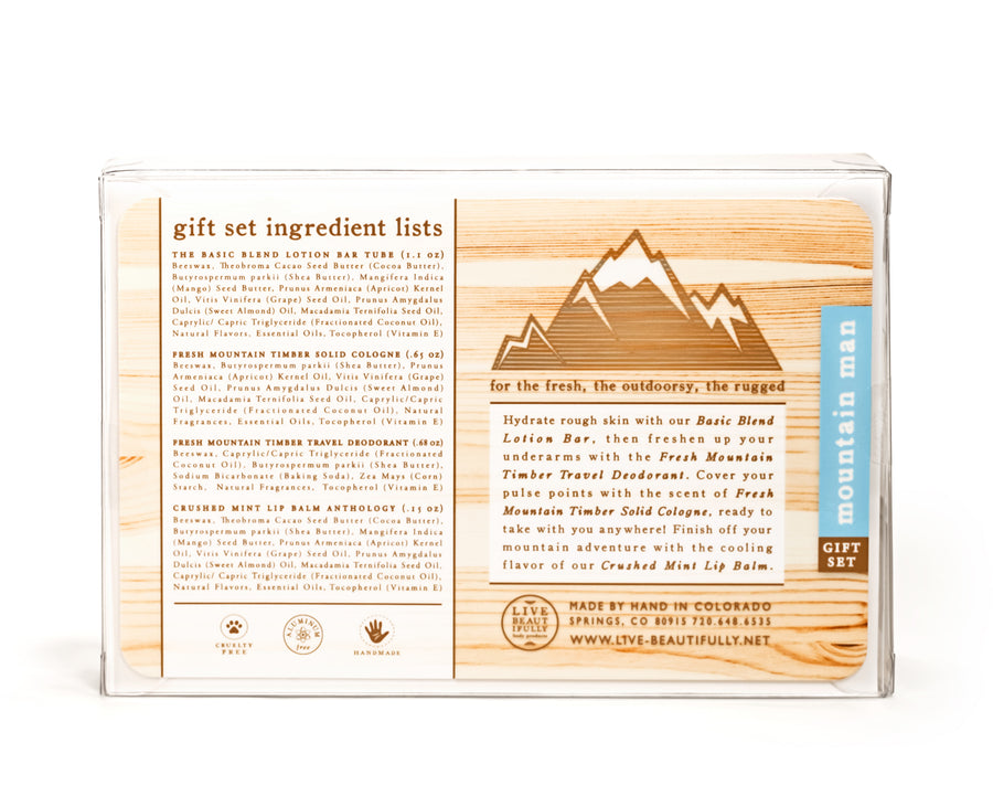 mountain man the basic blend lotion fresh mountain timber deodorant crushed mint anthology lip balm Fresh mountain timber cologne natural origin ingredients
