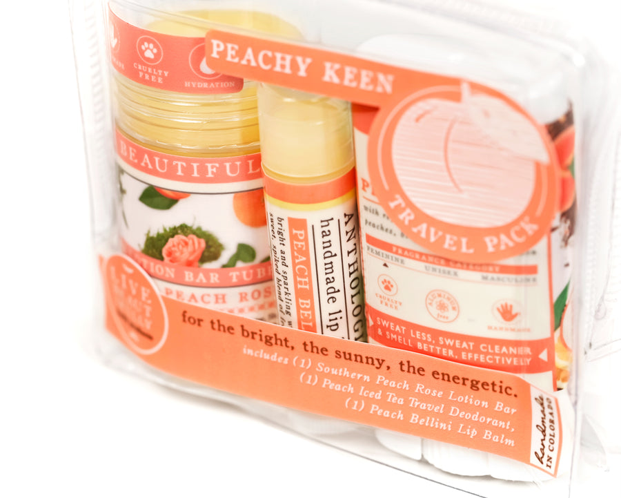 peachy keen travel pack gift set southern peach rose solid lotion bar peach bellini lip balm peach iced tea travel deodorant gift for her sister mom daughter