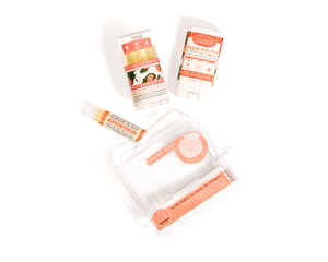 peachy keen travel pack gift set southern peach rose solid lotion bar peach bellini lip balm peach iced tea travel deodorant out of packaging