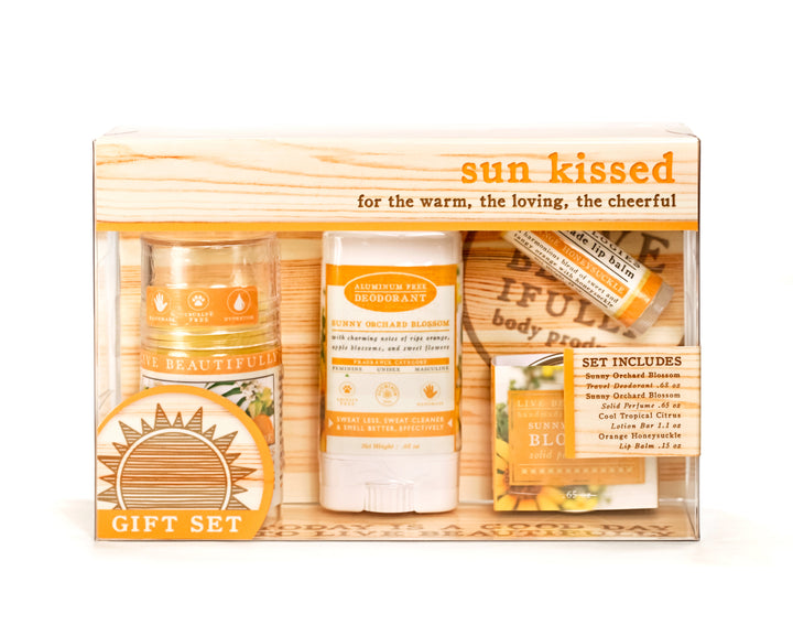 sun kissed cool tropical citrus solid lotion bar sunny orchard blossom deodorant orange honeysuckle lip balm sunny orchard blossom solid perfume