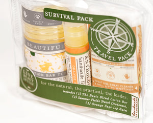 survival pack travel pack gift set the basic blend lotion bar orange sage lip balm summer fields travel size deodorant gift for him dad brother son