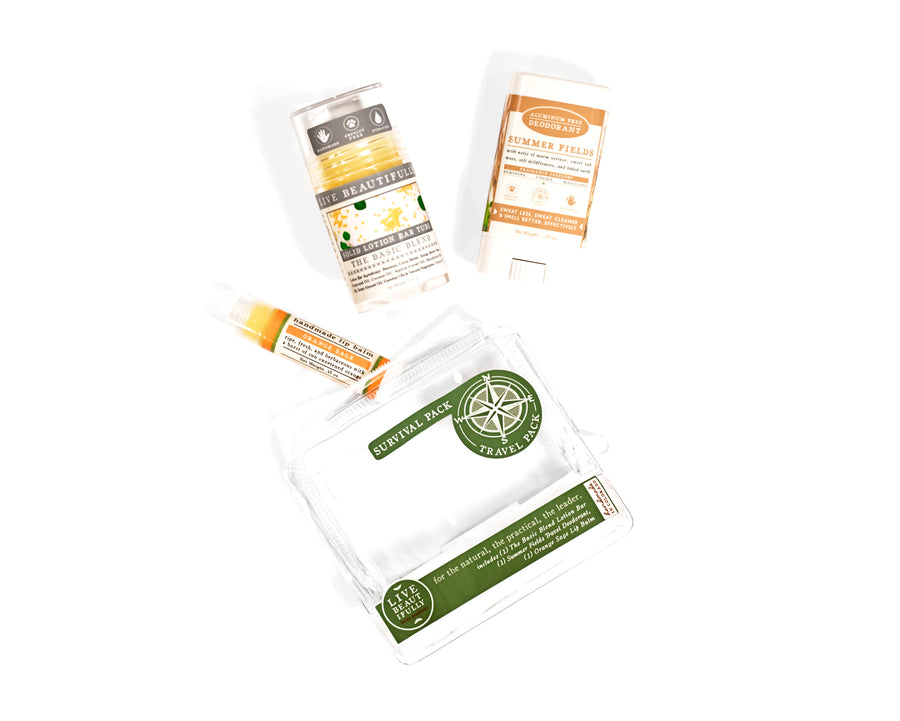 survival pack travel pack gift set the basic blend lotion bar orange sage lip balm summer fields travel size deodorant gift out of packaging
