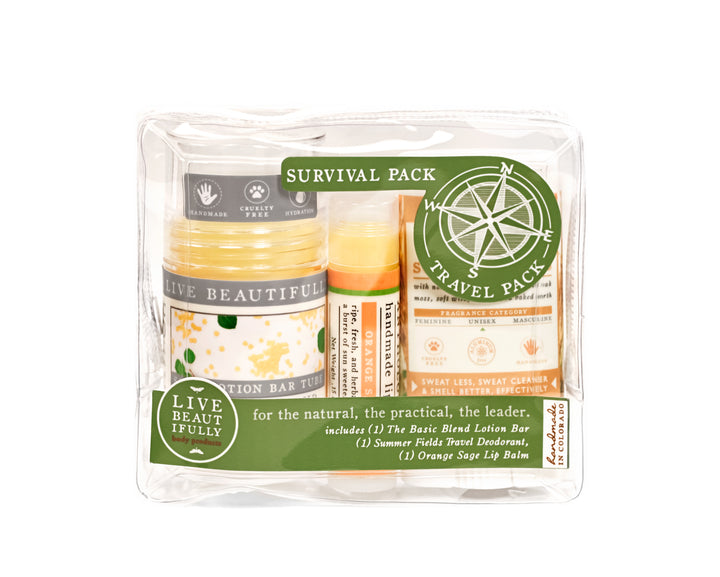 survival pack travel pack gift set the basic blend lotion bar orange sage lip balm summer fields travel size deodorant