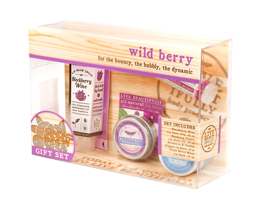 wild berry gift set box blackberry wine jelly blueberry violets lip tin triple berry burst lip balm blueberry whipped lip butter gift for her sister mom daughter