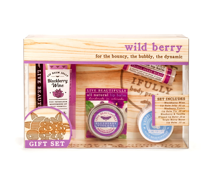 wild berry gift set box blackberry wine jelly blueberry violets lip tin triple berry burst lip balm blueberry whipped lip butter
