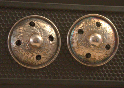 Button-eers -- silver earrings