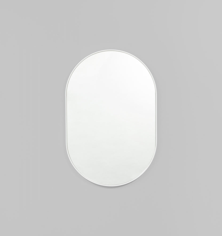 Bjorn oval mirror. bright white