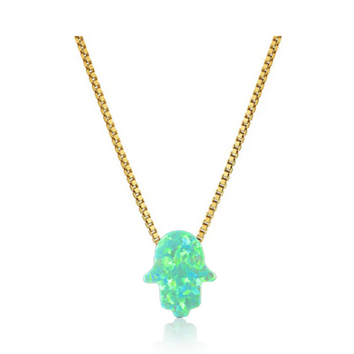 Green Hamsa Hand Necklace