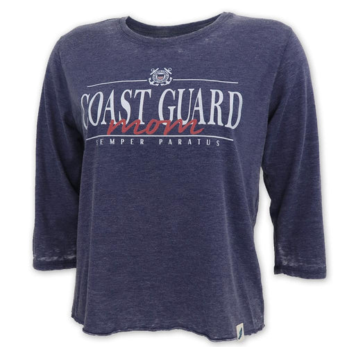 COAST GUARD MOM LADIES 3/4 SLEEVE T-SHIRT (NAVY)