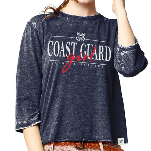 Coast Guard Girl Ladies 3/4 Sleeve T-Shirt (Navy)