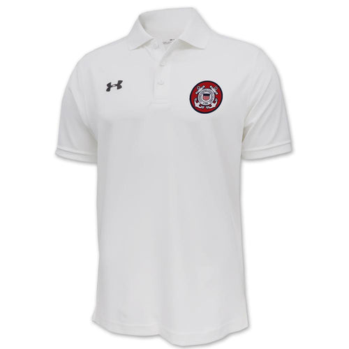 Coast Guard Under Armour Tac Performance Team Polo (White)