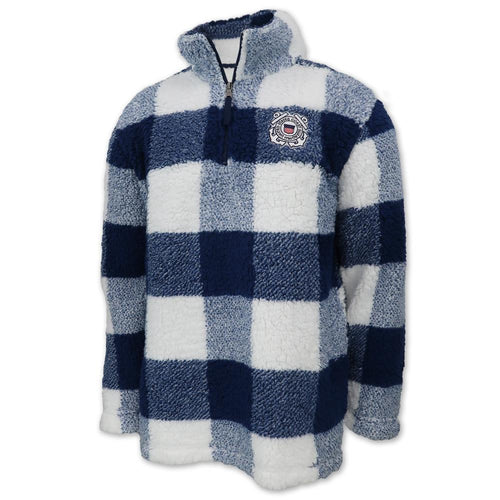 Coast Guard Sherpa Quarter Zip Pullover (Buffalo Plaid)