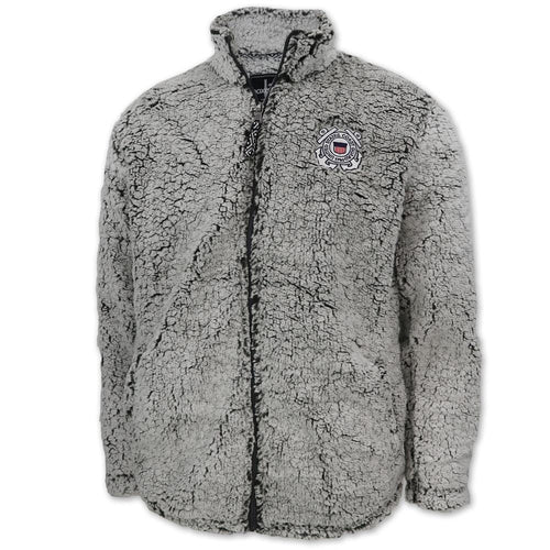 Coast Guard Men's Full Zip Sherpa Jacket (Frosty Grey)