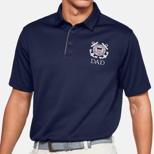 Coast Guard Seal Dad Under Armour Tech Polo (Navy)