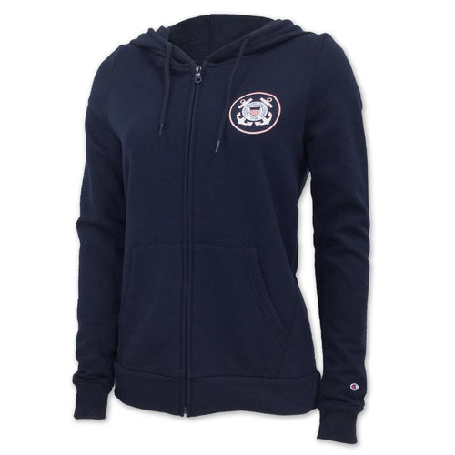 COAST GUARD CHAMPION LADIES FLEECE FULL ZIP HOOD (NAVY) 1