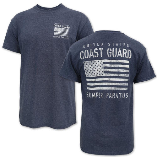 COAST GUARD DISTRESSED FLAG SEMPER PARATUS T-SHIRT (BLUE) 1