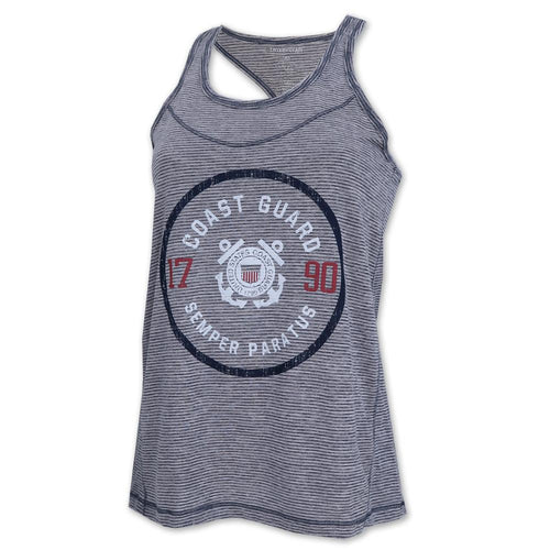 COAST GUARD LADIES SEMPER PARATUS TIGER SLUB TANK (NAVY) 1