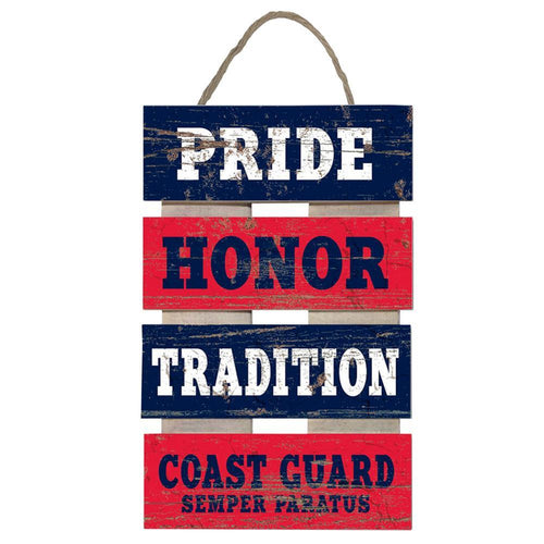 COAST GUARD PRIDE HONOR TRADITION PLANK LADDER WOOD SIGN (15.5