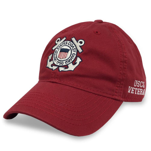 COAST GUARD SEAL VETERAN TWILL HAT (RED) 3