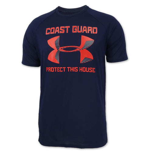 COAST GUARD UNDER ARMOUR PROTECT THIS HOUSE TECH T-SHIRT (NAVY) 1