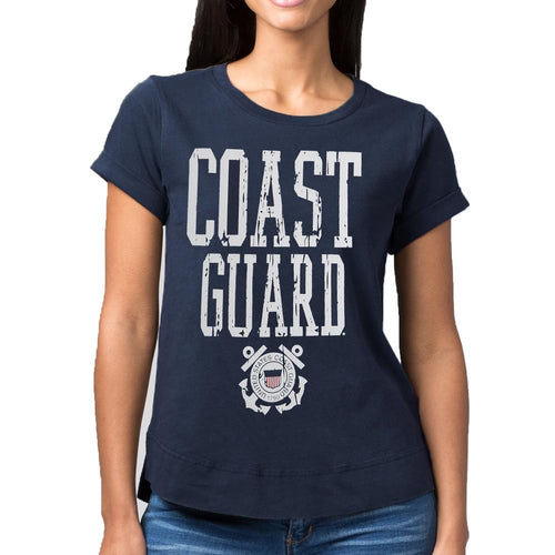USCG LADIES DISTRESSED VINTAGE CUFF T-SHIRT (NAVY) 2