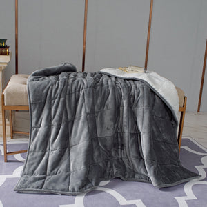 Pür Serenity 10 LB Reversible Hooded Velvet to Sherpa Weighted Throw