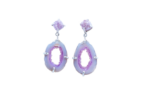 Pink Amethyst Geode Earrings - La Femme du Jour