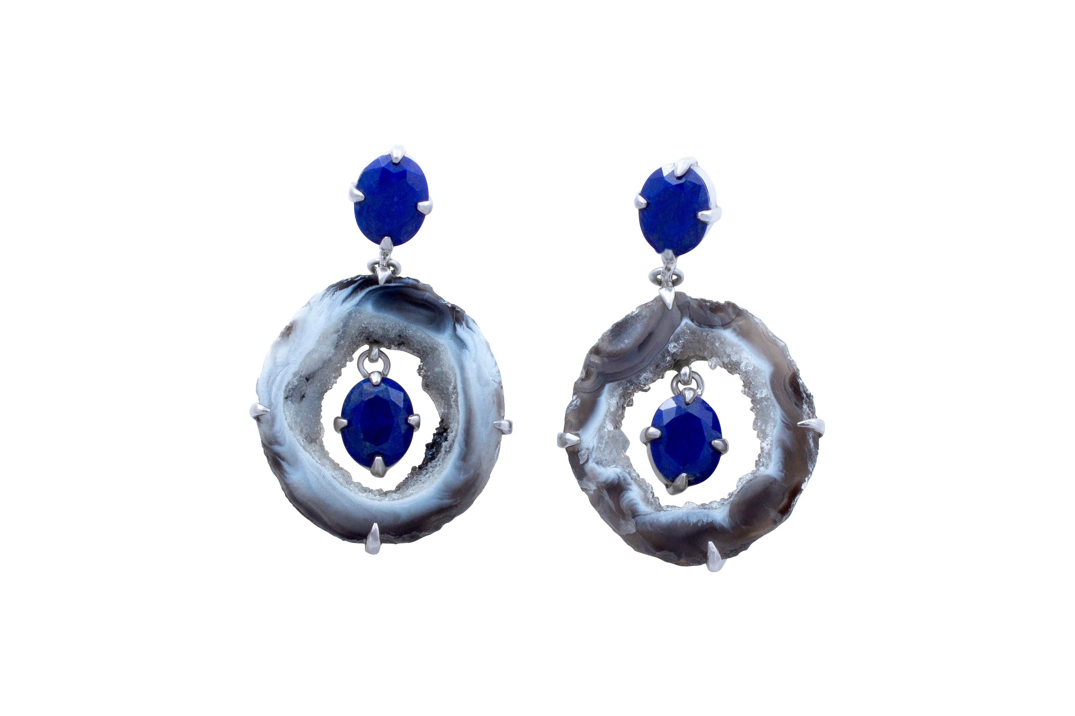 Geode & Lapis Lazuli Earrings - Joy