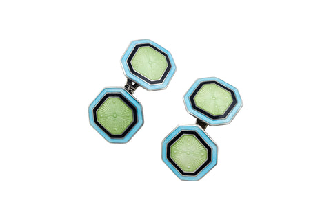 Antique Mint Trio Enamel Cufflinks