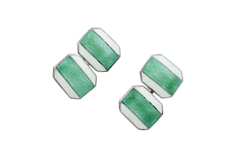 Antique Fern Green Enamel Cufflinks