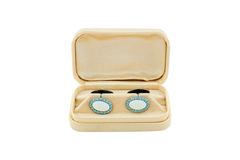 Antique Robins Egg Blue Enamel Cufflinks