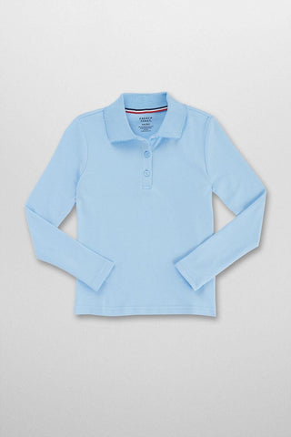 LONG SLEEVE PICOT COLLAR INTERLOCK POLO #FT-SA9424 - Growing Kids