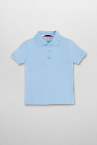 Girls Short Sleeve Picot Collar Polo #FT-SA9423 - Growing Kids
