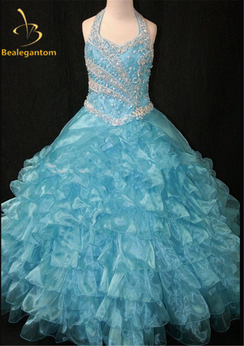 bc90881b4 2017 Hot New Girls Party Pageant Gown Ball Gowns Halter Bead ...