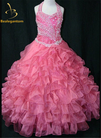 2017 Hot New Girls Party Pageant Gown Ball Gowns Halter Bead Crystals Pink Flower Girl Dresses Vestido Daminha Casamento QA205 - Growing Kids