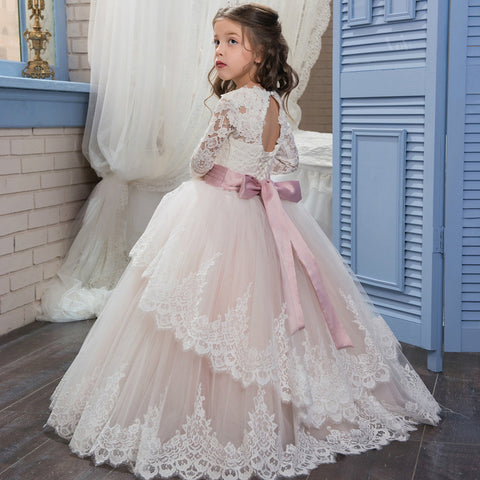 2017 Pageant Dresses for Girls Glitz Long Sleeves Lace Up Ball Gown Appliques Bow Sashes Birthday First Flower Girl Dresses Hot - Growing Kids