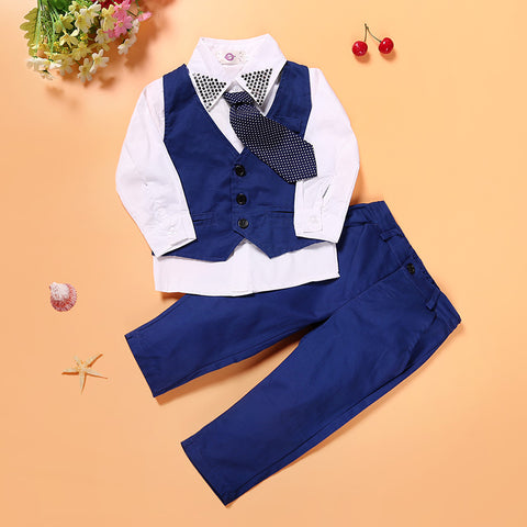 2017 summer and autumn style baby boys clothes children Tie + shirt + Vest + pants cotton school Suit clothing  kids clothes set - Growing Kids