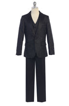 FG-2131359 NEW ARRIVAL slim fit 3pcs suit  Black (1-16) - Growing Kids