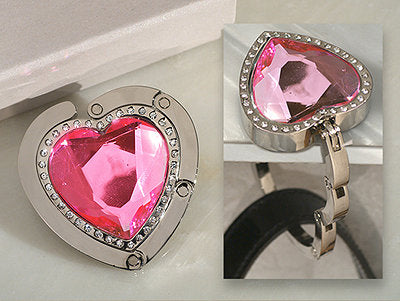 *Murano art deco Collection Heart shape pink crystal handbag holder CA2871 - Growing Kids