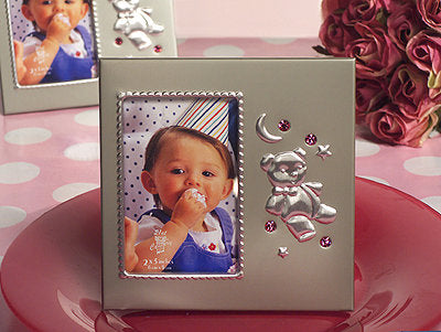 *Silver Teddy Bear Frame With Pink Crystals CA4094 - Growing Kids