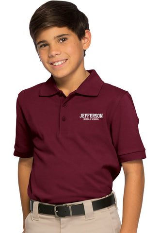 UNISEX SHORT SLEEVE BURGUNDY PIQUE POLO - Growing Kids