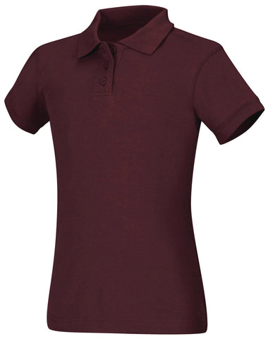 Clearance  Girls SHORT SLEEVE BURGUNDY PIQUE POLO - Growing Kids