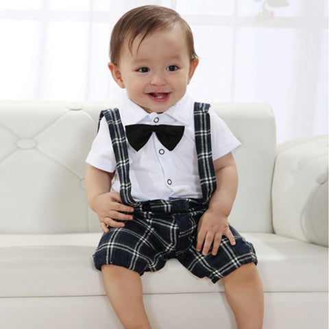 Baby Boys Wedding Bow-tie Occasion Christening Tuxedo Suit Outfit + Vest Set Age 0-3Y - Growing Kids