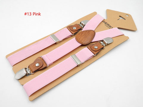 Baby Suspenders Fashion Kids Braces Strong 3Clips Boy Suspenders Trousers Suspensorio Elastic Strap size 2.5*65cm  18 colors - Growing Kids