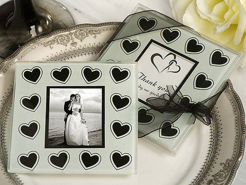 *Black And White Hearts Theme Photo Coaster - Growing Kids