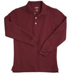LONG SLEEVE BURGUNDY PIQUE POLO - Growing Kids